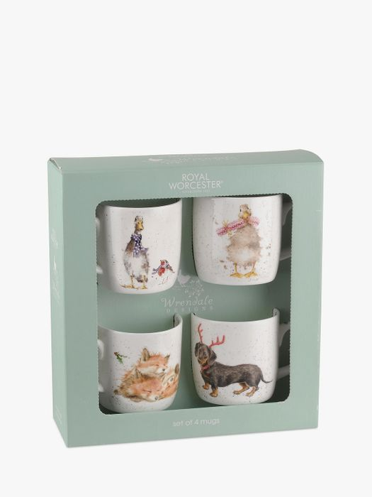 *HALF PRICE* Royal Worcester Wrendale Christmas Animal Mugs, Set of 4