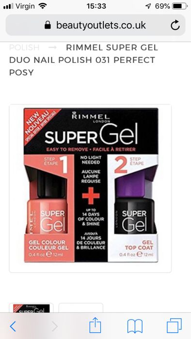 Rimmel Super Gel Duo Nail Polish 031 Perfect Posy Sale
