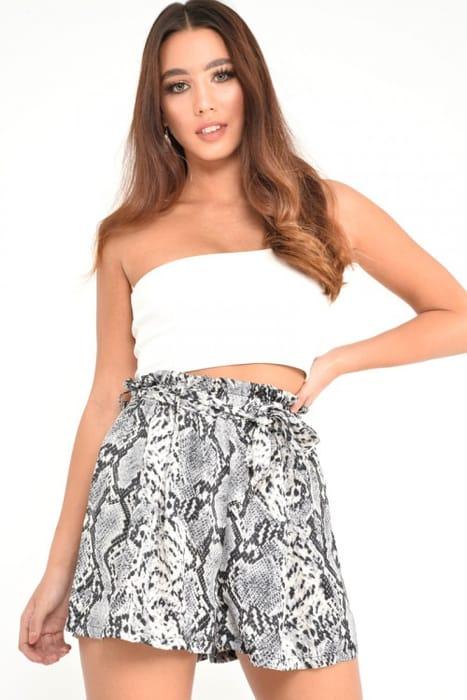 Grey Snake Print Paper Bag Waist Shorts - Niasia