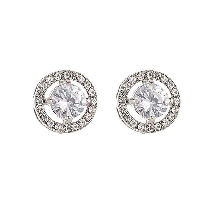 Women Fashion Rhinestone Stud Earrings Pendant Necklace Bridal Jewelry on Amazon