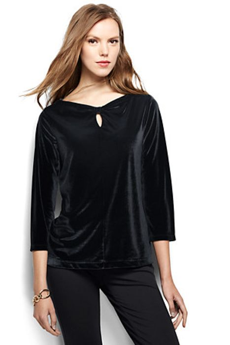 Women's Regular Velvet Keyhole Top
