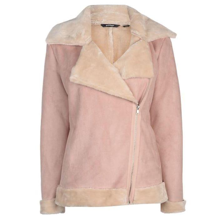 Golddigga Faux Fur Aviator Jacket Ladies (Blush or Black)