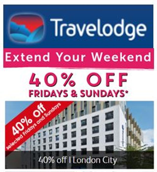 40% OFF CODE for Travelodge HOTEL NIGHTS