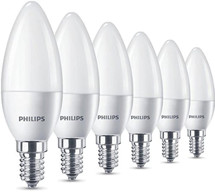 6 X Philips LED E14 Small Edison Screw Candle Light Bulb
