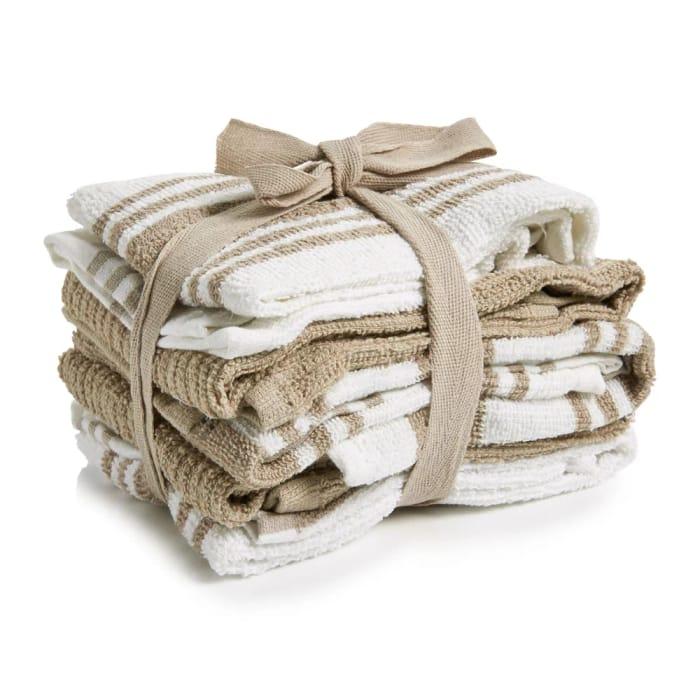 Wilko Tea Towels Natural and White 5pk