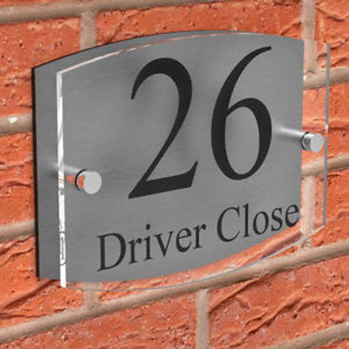 Clear Acrylic with Brushed Aluminium - Door Number & Road Name Plaque