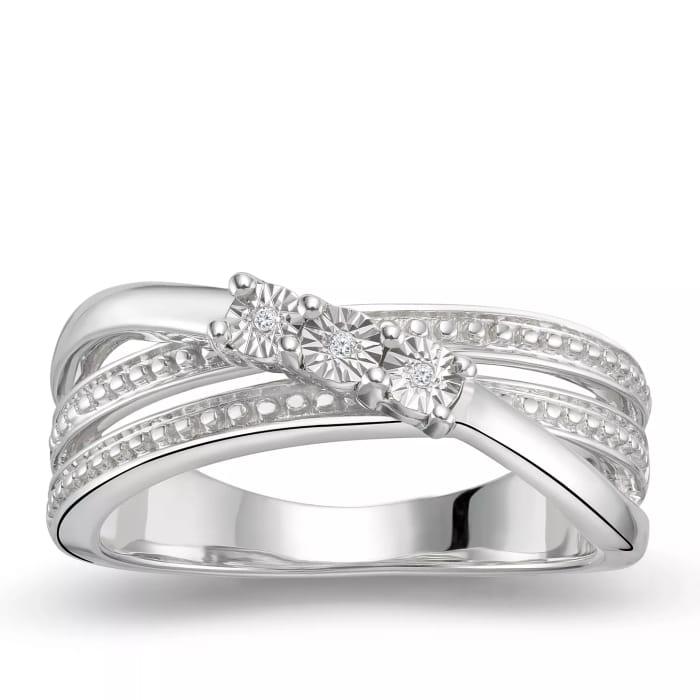 Silver Three Stone Diamond Ring