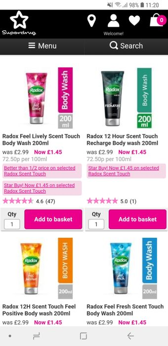 1.45 on Selected Radox Scent Touch