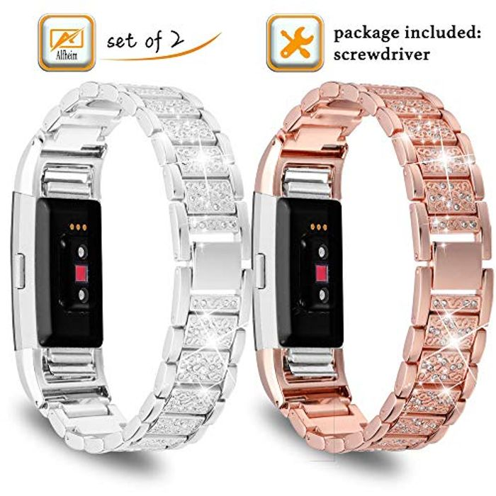 Fitbit Charge 2 Wrist Strap Metal, Crystal Stainless Steel with Rhinestone