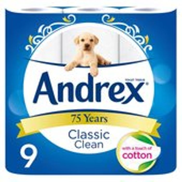 Andrex Classic Clean Toilet Roll 9 per Pack