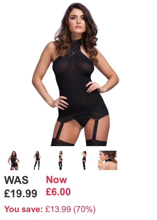 Lovehoney Sheer Suspender Bodystocking Was £19.99 Now £6 Black/ Red