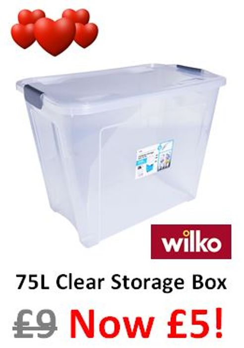 I LOVE BIG CLEAR STORAGE BOXES! LIKE THESE REDUCED from £9 to £5