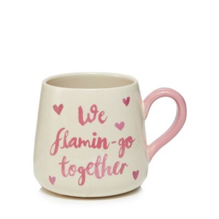 Cream and Pink Flamingo Mug