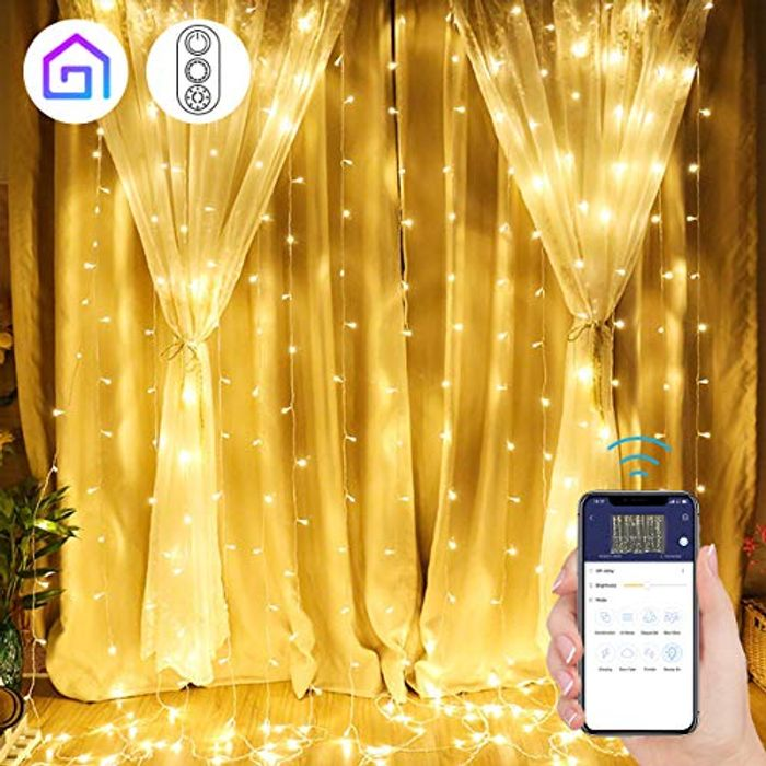 Save up 40%Off Curtain Light with APP Control 300Leds & 8 Modes