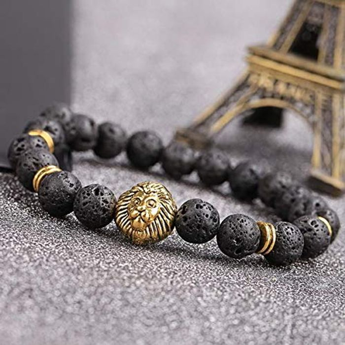 Unisex Lava Rock Stone Beaded Bracelet Adjustable Bracelet