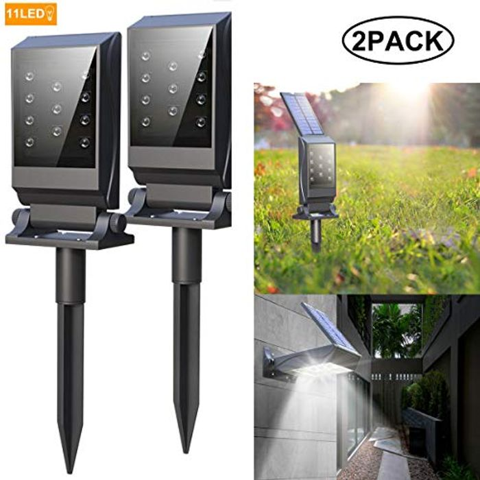Deal Stack! Free Solar Spotlights Outdoor, Super Bright 11 LEDs