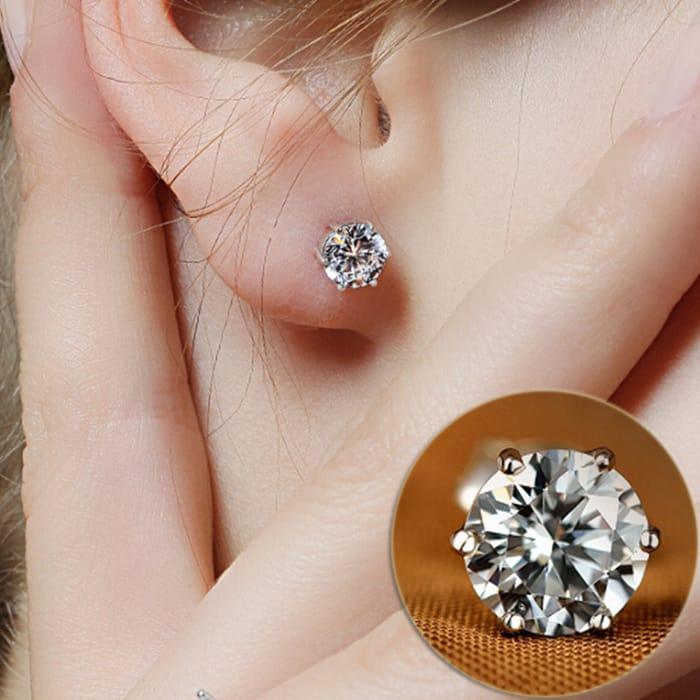 Unisex 3A Zircon 6 Claw Steel Stud Earrings