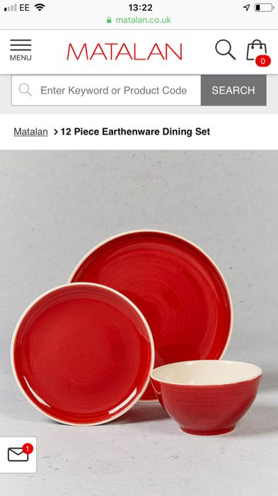 12 Piece Earthenware Dinner Set