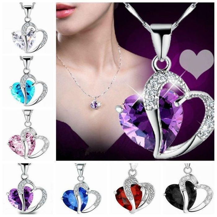 Women Fashion Jewelry Heart Crystal Rhinestone Silver Chain Pendant Necklace