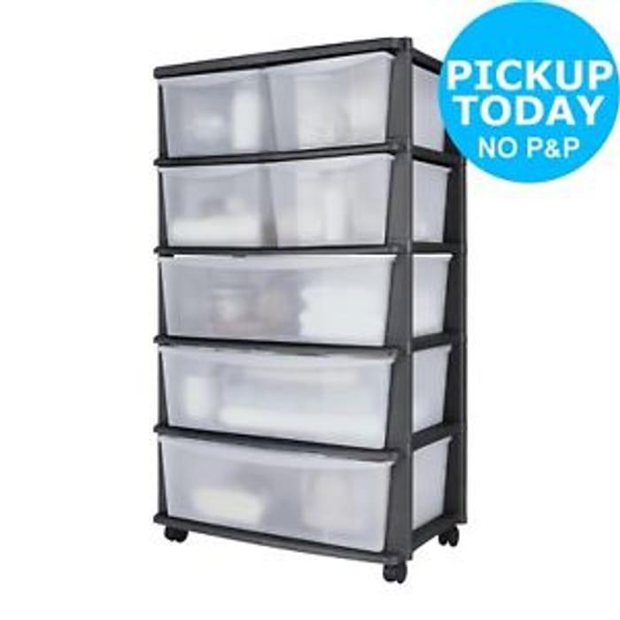 Ebay Argos Home 7 Drawer Black Plastic Wide Tower Storage Unit