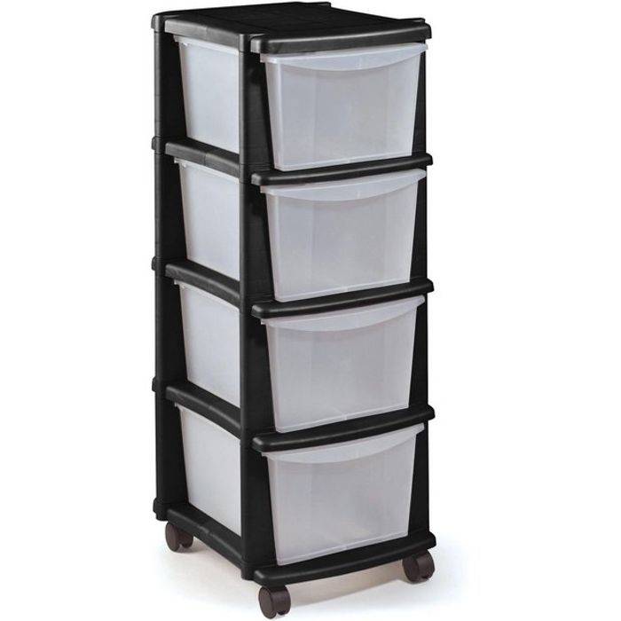 Argos Home 4 Drawer Black Plastic Tower Storage Unit