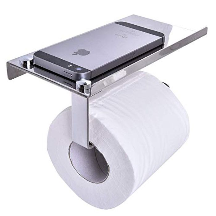 Toilet Roll Holder with Mobile Phone Storage Shelf