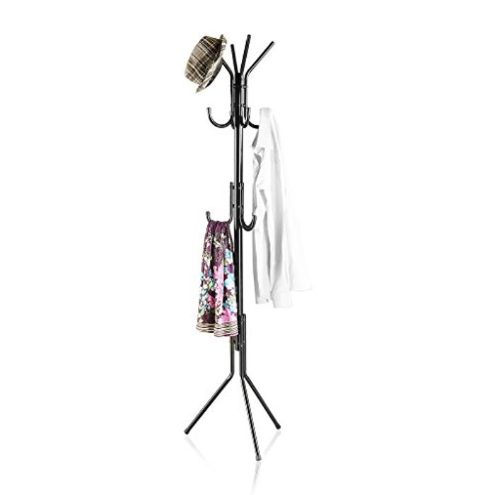 3 Tier 11 Hook Free Standing Coat and Hat Rack