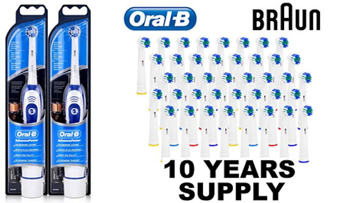 BARGAIN! 2 X Braun Advance Oral-B Electric Toothbrushes + 40 Replacement Heads