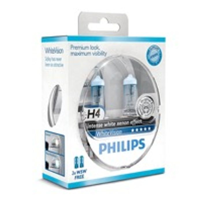 Philips White Vision Xenon Effect - H4 Twin Pack, Free Set of 501 Bulbs Included