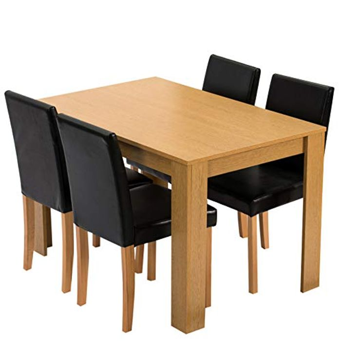Dining Table with 4 Chairs, Oak Colour Table with Black PU Leather Seats