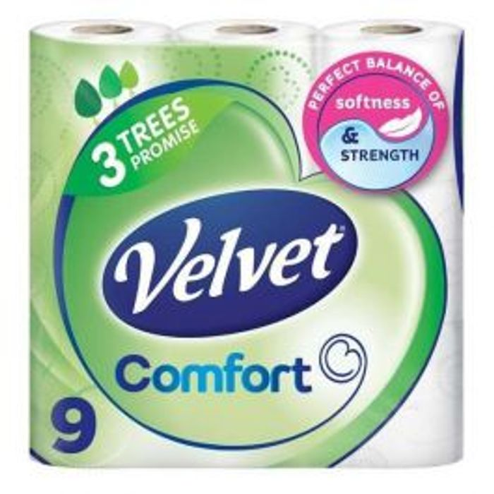9 Rolls of Velvet Triple Toilet Roll