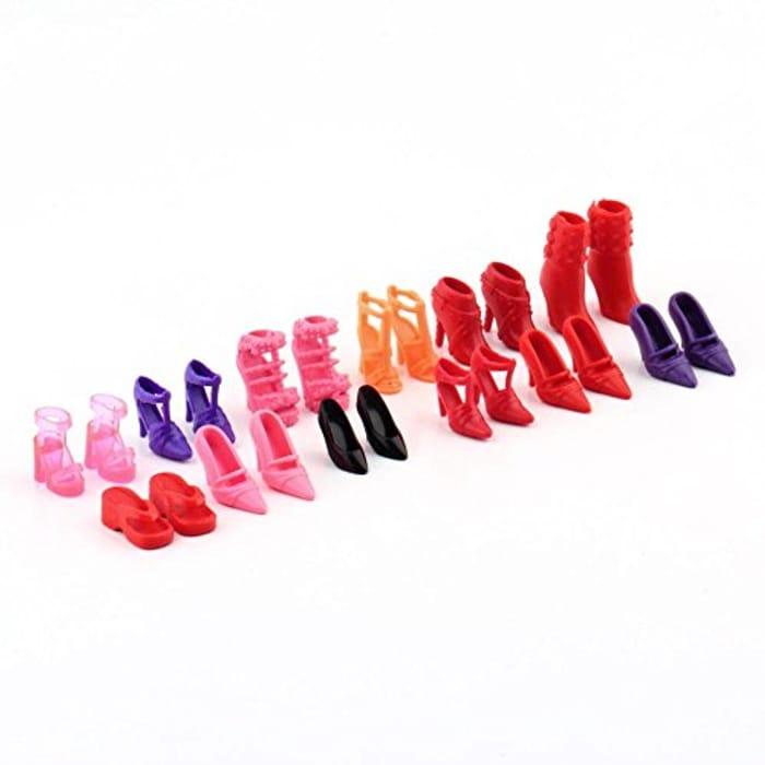 Cheap 12 Pair High Heel Flattie Shoes Boot for Barbie Doll