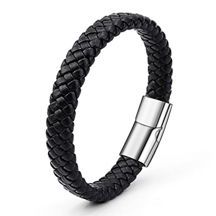 Men's PU Leather Bracelet with Strong Clasp