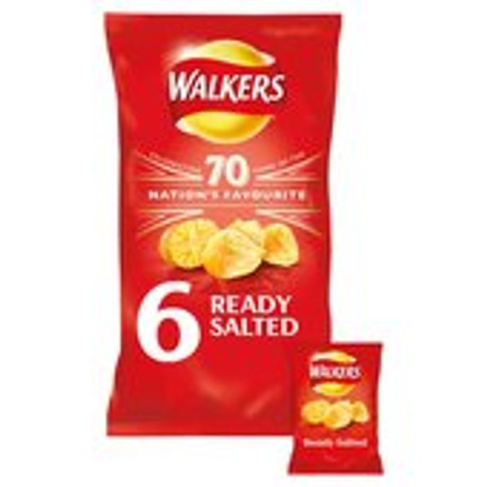 Walkers Ready Salted Crisps 6 X 25g £1.25£1.50
