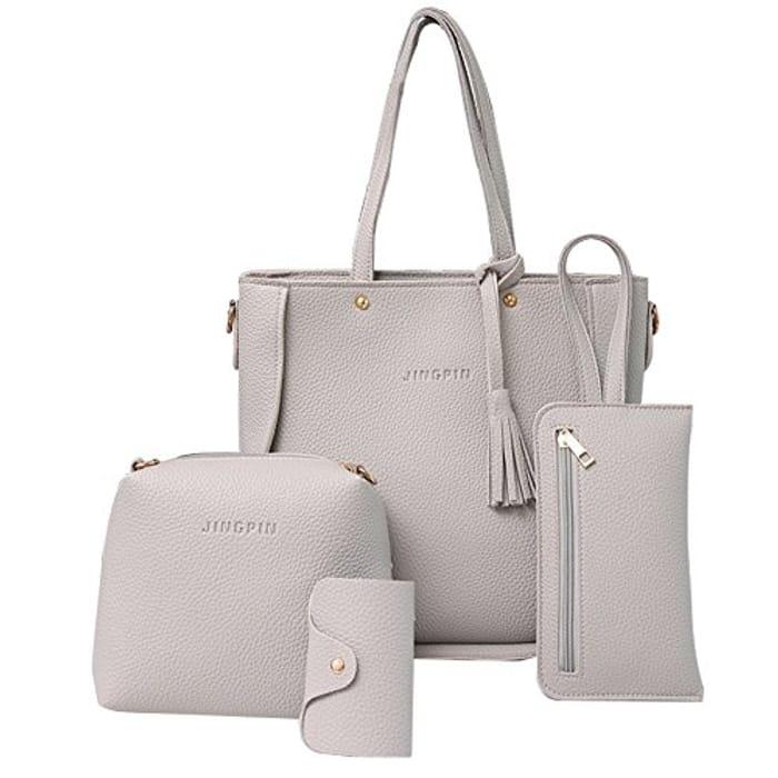 Big Promotion 4Pcs Luxury Women Tassels Wallet Card Holder HandBag Set Deal