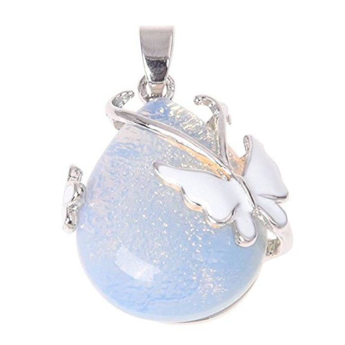 Teardrop Opal Gemstone Pendant Bead Jewelry Butterfly