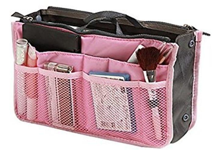 Travel Organiser Insert Tidy Cosmetic Handbag Pink [Great Reviews]