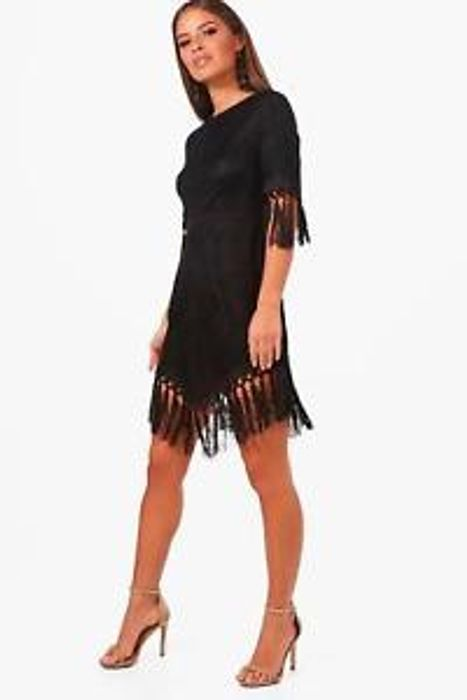 Boohoo Womens Petite Lace Tassel Trim Skater Dress in Black Size 4