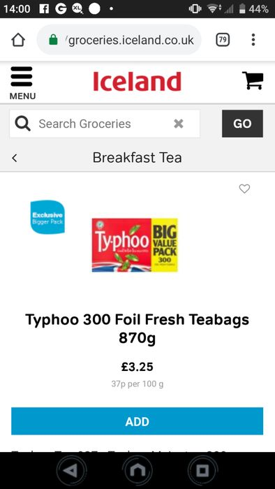 Typhoo Teabags 300 for £3.25 (Just over a Penny a Bag)