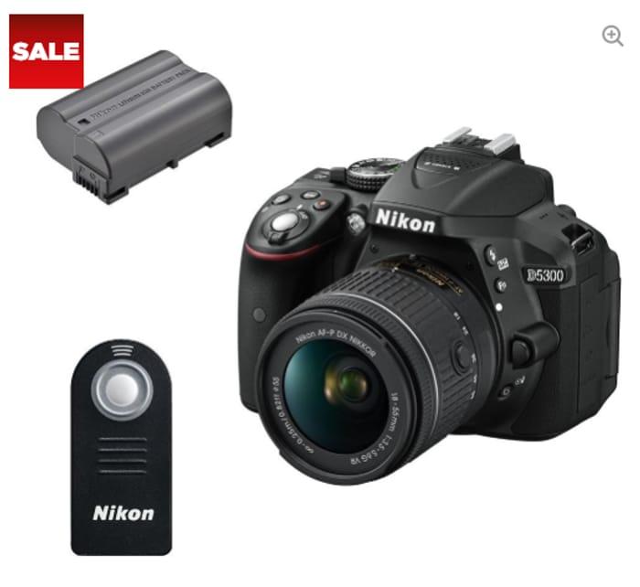 NIKON D5300 DSLR Camera with DX 18-55 Mm f/3.5-5.6G VR Lens, Remote & Batteries