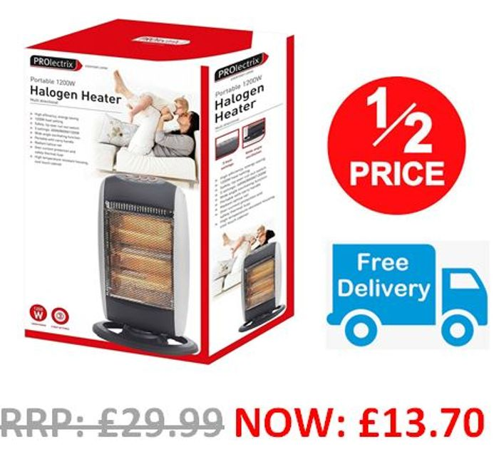 Halogen Heater with 3 Heat Settings - AMAZON #1 BEST SELLER - FREE DELIVERY