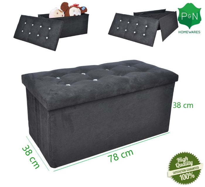 Large Black Suede Ottoman Storage Box with Diamond Buttons Only £15.60