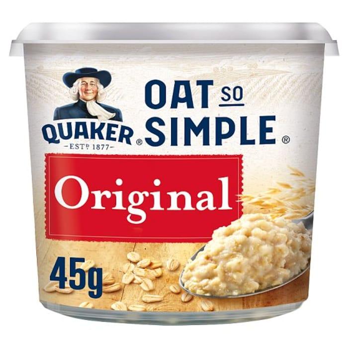 Quacker Oat so Simple Original Porridge Pot 1/2 Price at Tesco
