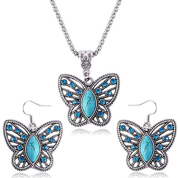 Crystal & Stone Butterfly Necklace & Earring Set