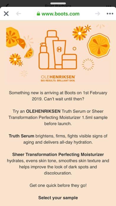 Truth Serum or Sheer Transformation Perfecting Moisturizer 1.5ml Sample