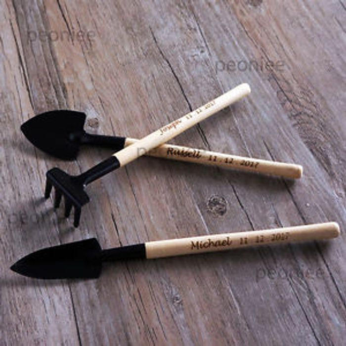 Personalised Mini Wood Home Garden Tool Set Shovel Rake Spade Gardener Gift
