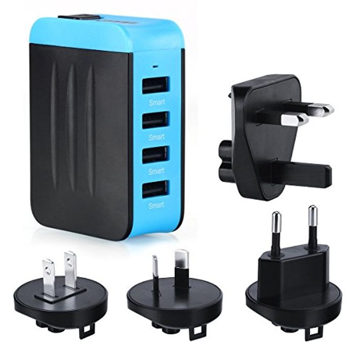 Travel Charger Adapter Plug 4.8A 4 Ports AC USB Wall Travel Charger at Amazon