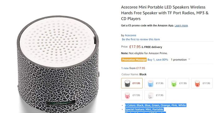 Acecoree Mini Portable LED Speakers Wireless Hands Free Speaker, £4