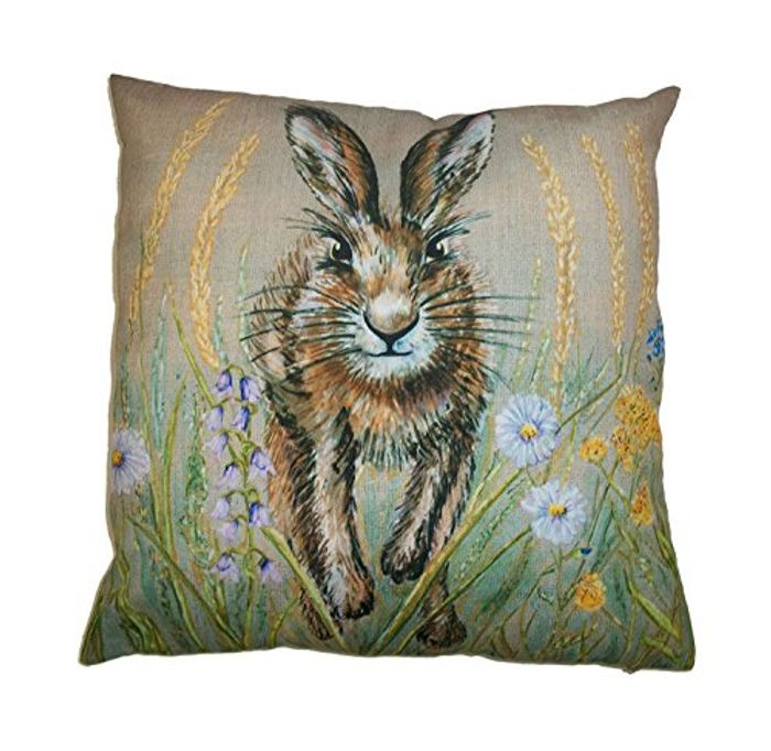 £2.36 Pp Inc Stunning Spring Hare Cushion Cover in a Springtime Meadow 18x18inch