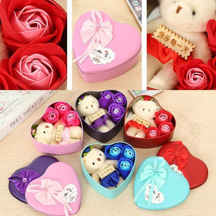 Valentines Teddy + 3x Soap Flowers in Heart Tin - 4 Colours to Choose From